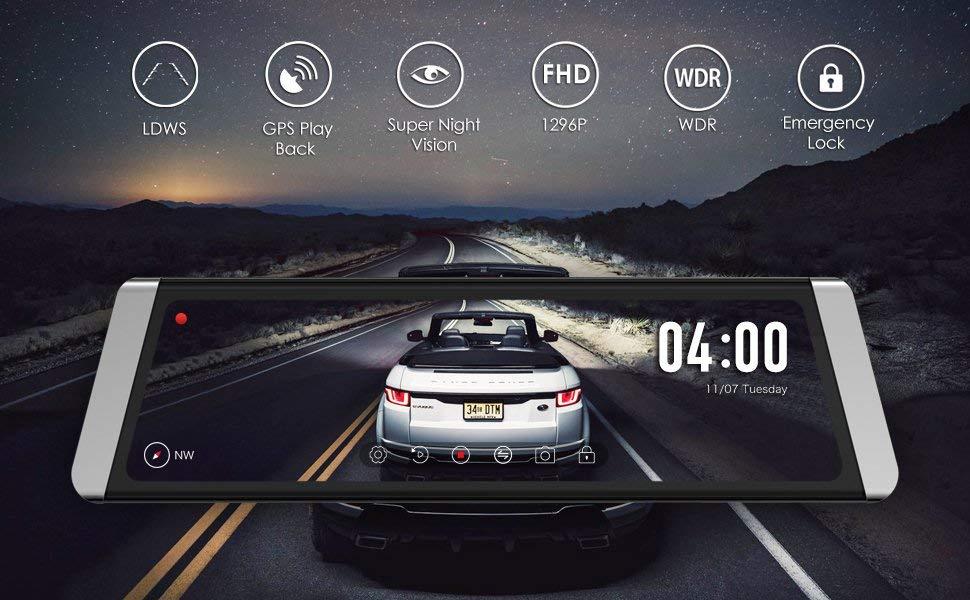 AUTO-VOX X1 Mirror Dash Cam Backup Camera 9.88