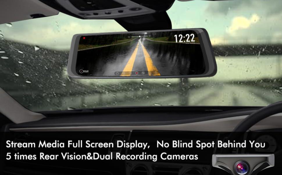 Amazon Com X1pro Rear View Mirror Dash Cam 9 88 Full