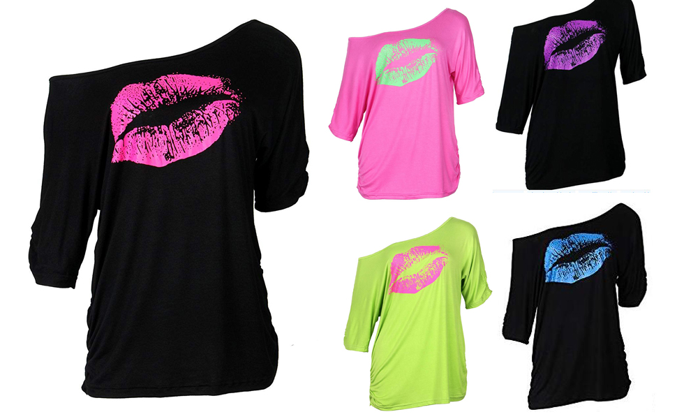 , Smile fish Women Casual Oversized Sexy Lips Print Off Shoulder T-Shirt, Luxoney