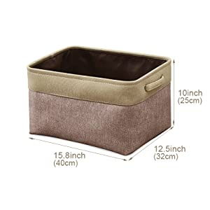 EZOware Collapsible Large Cube Fabric Linen Canvas Storage Bins Baskets for Shelves
