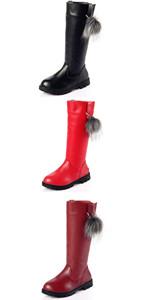 Girl's Waterproof Pom Pom Riding Boots