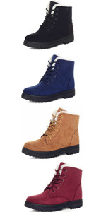 Women's Suede Waterproof Lace Up Snow Boots