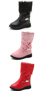 Girl's Waterproof Lace Bowknot Winter Boots