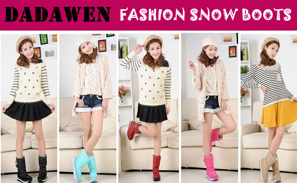 DADAWEN winter snow boots. More warm! more convenient! more fashionable!  Waterproof vamp material 8187d20243a2