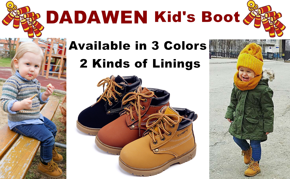 DADAWEN Babys Boys Girls Classic Waterproof Outdoor Insulated Winter Snow Boots
