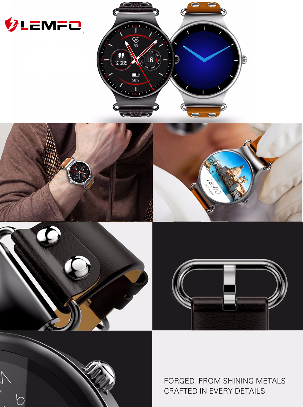 Amazon.com: LEMFO Smart Watch 3G Phone Android 5.1 Bluetooth ...