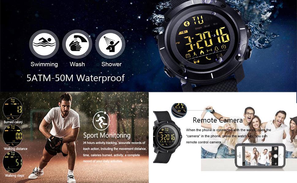 Amazon.com: Lemfo LF19 Reloj digital para hombre Smart Watch ...