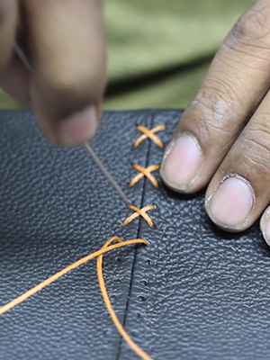Hand Stitching on Leather