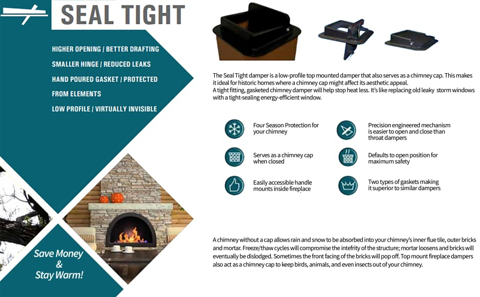 Amazon Com Us Fireplace Products Seal Tight Damper 13