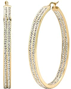 Jstyle Womens Stainless Steel Pierced Large Hoop Earrings with Rhinestone