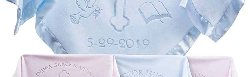 Blue and pink personalized baptism blankets with name and date