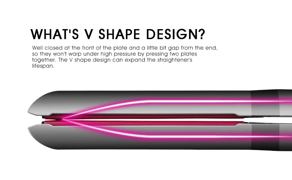 Flat iron V shape design