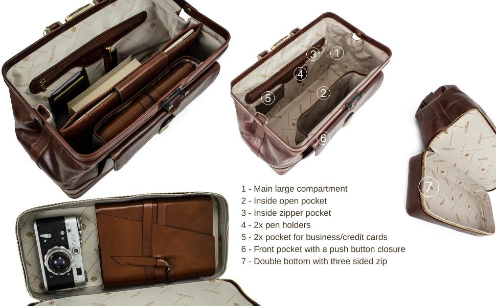 8b889d84d3f3 Amazon.com  Time Resistance Leather Doctor Bag