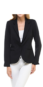 Auliné Collection Women's Color Work Office Long Sleeve Button Lined Blazer