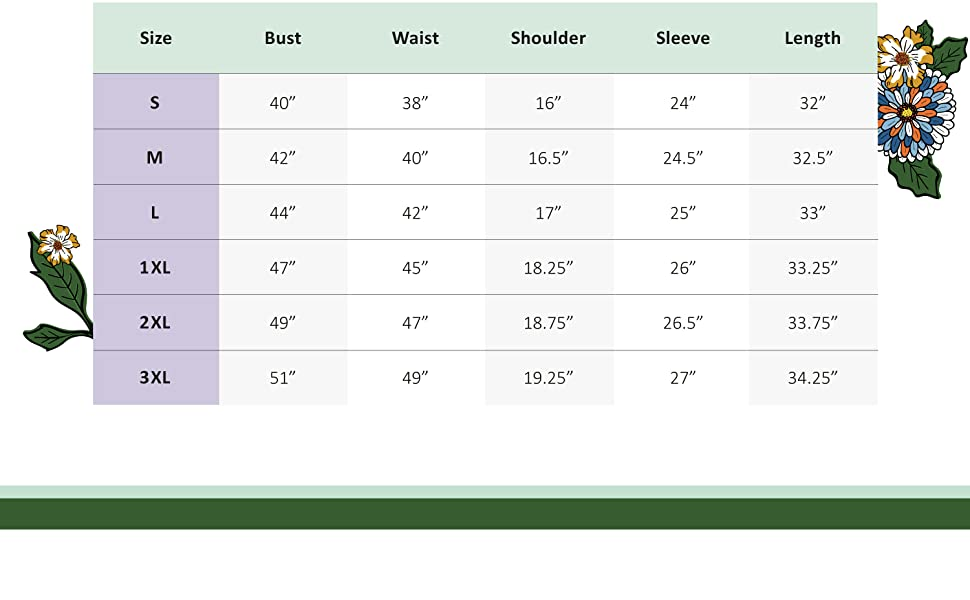 A size chart with measurements of the Jacket, in all available sizes: S, M, L, 1XL, 2XL, 3XL.