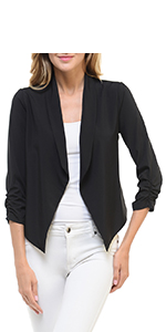Auliné Collection Womens Casual Lightweight 3/4 Sleeve Fitted Open Blazer