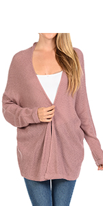Auliné Collection Women's Casual Open Front Loose Drape Knit Cardigan Sweater