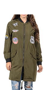 Auliné Collection Womens Lightweight Long Patched Windbreaker Bomber Jacket