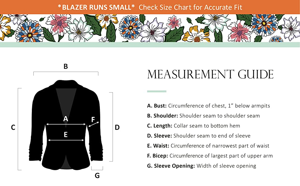 A guide on how the bust, shoulder, length, sleeve, waist, bicep and sleeve opening are measured.