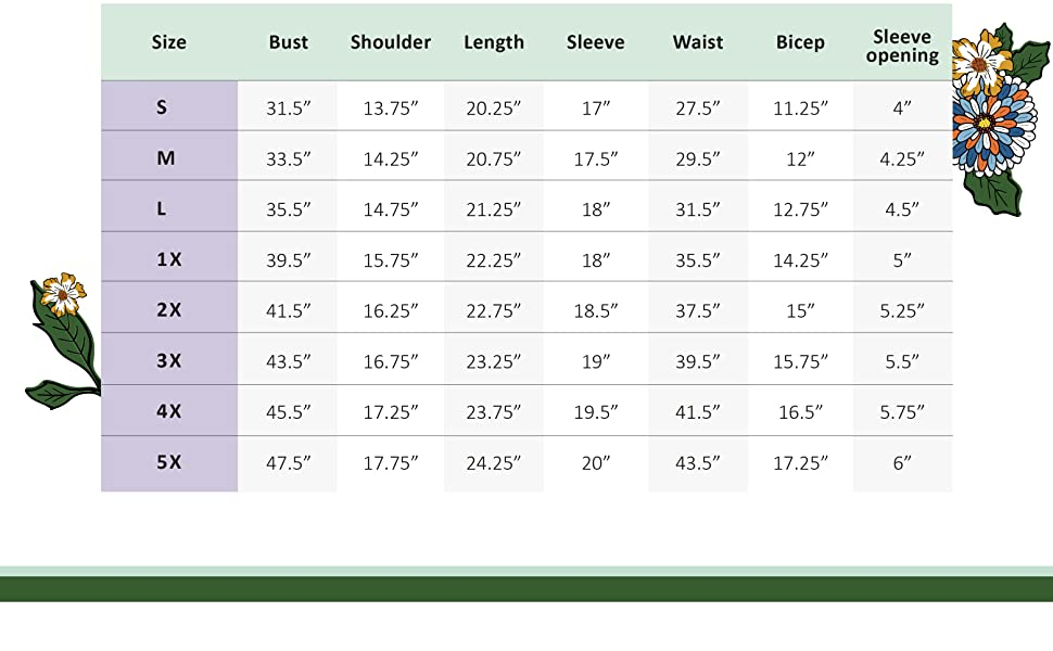 A size chart with measurements of the blazer, in all available sizes: S, M, L, 1X, 2X, 3X, 4X, 5X.