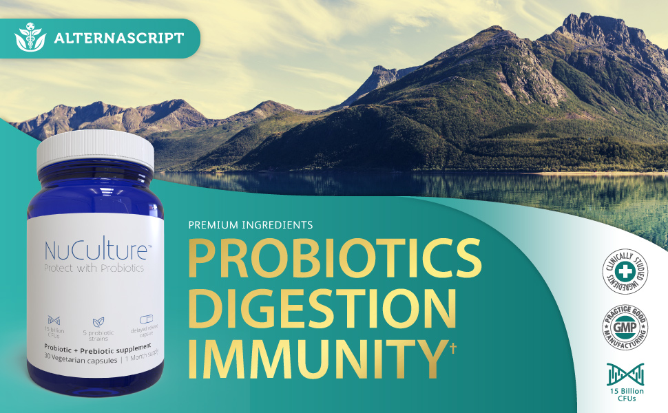 AlternaScript NuCulture Probiotics Digestion Immunity Health CFU 5 billion premium ingredients
