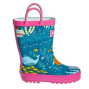 MO MOKER Kids Rain Boots Toddler//Little Kid//Big Kid Sizes Assorted Colors,Green,16