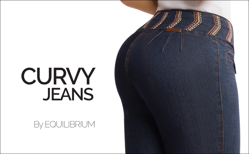 Equilibrium - Womens Skinny Jean - Mid Rise - Embroidered - Curvy Fit - Stretch Denim - Jean Colombiano Levanta Cola - J8293