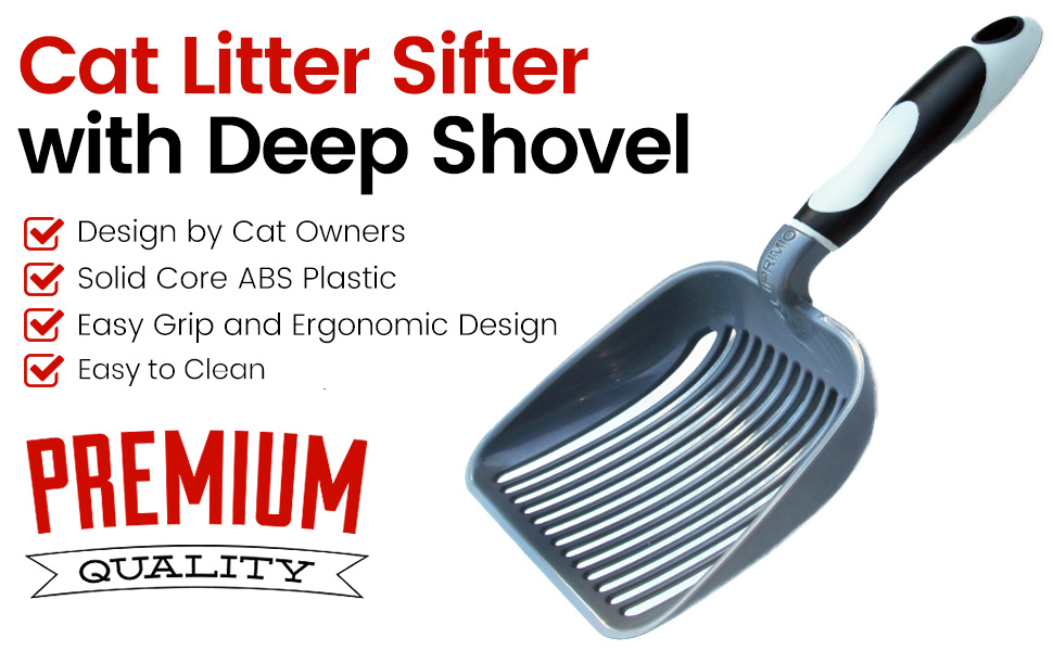 Quick-Screening Deep Shovel with Comfortable Handle Specially Designed for Multi-Cat Owners品 Zibin Cat Litter Shovel,sturdy Abs Cat Litter Shovel with Stand