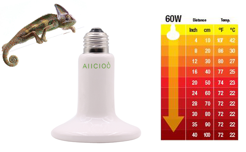 Amazon Com Aiicioo Reptile Heat Lamp Bulb 60w Ceramic Heat Emitter No Harm No Light Infrared