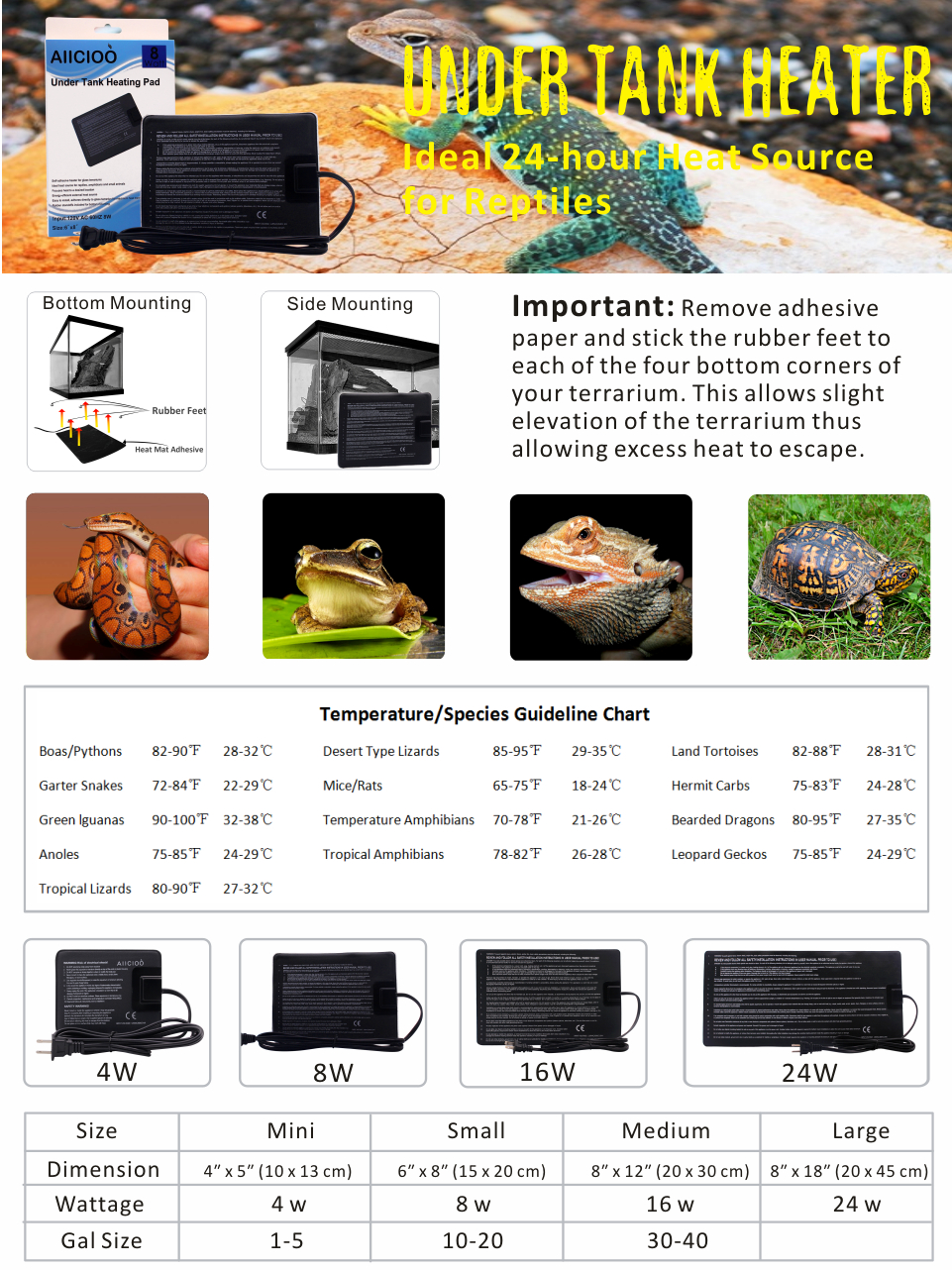Amazon Com Under Tank Heater Aiicioo Reptile Heating