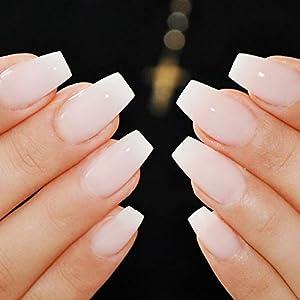 Makartt 500pcs Short Coffin Nails Press on Nails Clear Ballerina Nail Tips  Full Cover False Nail Tips 10 Sizes for Nail Salons and DIY Nail Art A,03