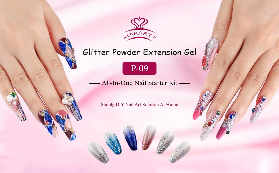 59f38b620d Amazon.com: Makartt P-09 Nail Extension Gel Nail Starter Kit with ...