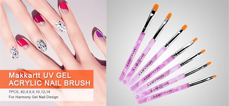 Amazon makartt 7pcs uv gel acrylic nail brush nail art tips 7 different sizes uv gel nail art brush prinsesfo Images