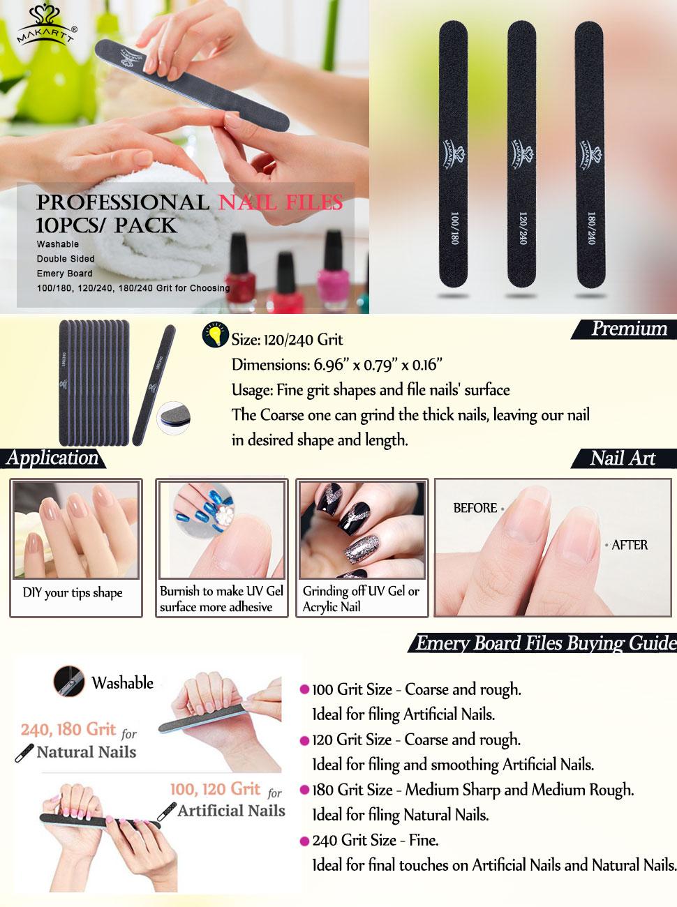 Amazon.com: MAKARTT Professional Nail Files Black Washable Double ...