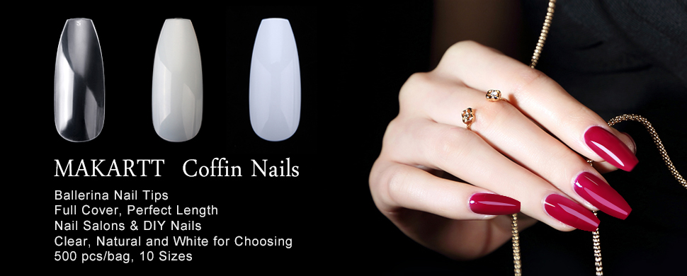 Amazon.com: Makartt 500pcs Coffin Nails Clear Full Colver Acrylic ...