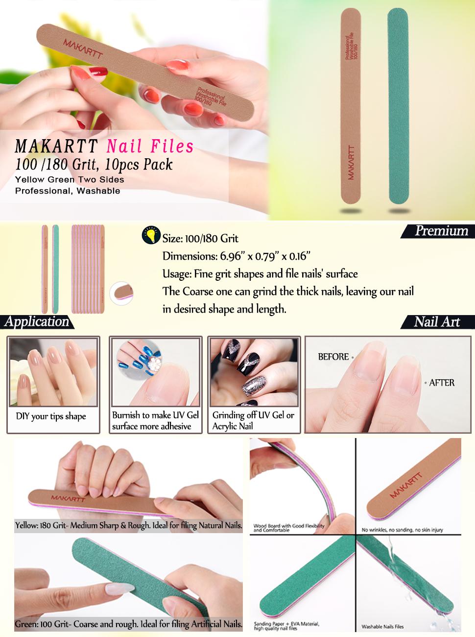 Amazon.com : MAKARTT Professional Nail File 100 180 Grit Yellow ...