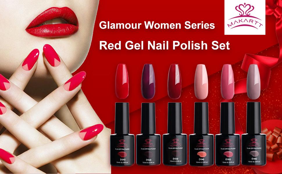 Amazon.com: Makartt Red Gel Nail Polish Kit 10 ML 6 Bottles Perfect ...