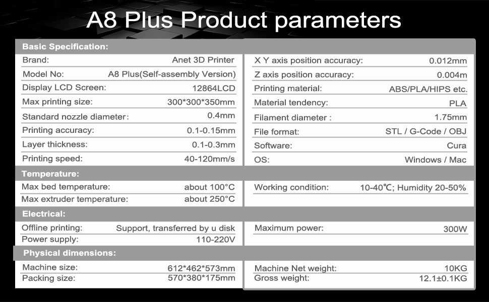 A8 plus product parameters ( Self-assembly Version )