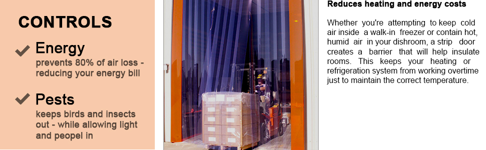 Acepunch PVC Plastic Sheet Curtain 90cm x 200cm 3 x 6.6 ft. Warehouse Doors and Clean Rooms AP1181 Set for Walk in Freezers