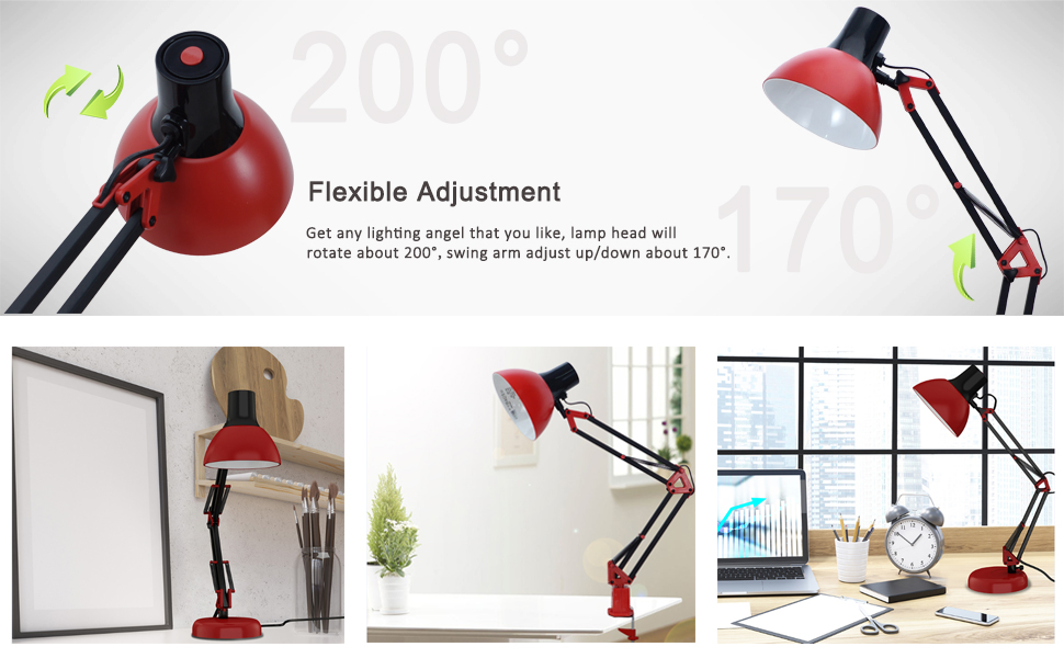 Tojane Red Desk Lamp Swing Arm Modern Architect Table