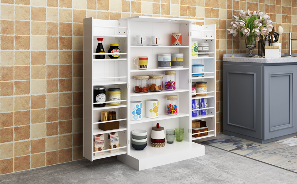 HOME BI Kitchen Pantry Cabinet 5 Door Storage Cabinet with 5 Shelves  Cupboard Space Saving Cabinet,White