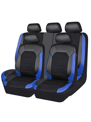 11PC, Black and Purple Trucks,Suvs,Zipper Design CAR PASS Leather and Mesh Universal Car Seat Covers,Airbag Compatible for Sedans
