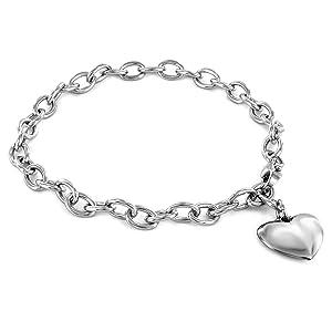 stainless steel heart dangle bracelet gift for her jewelry for women