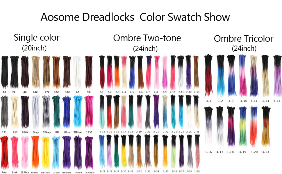Aosome dreadlock color swatch show