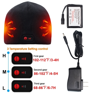 electric rechargeable battery heated hats cold weather winter warm thermal heated cap