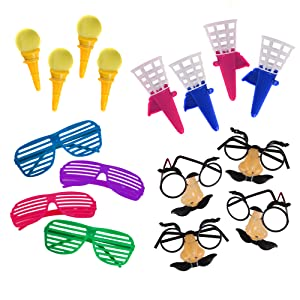 glasses and toy poppers