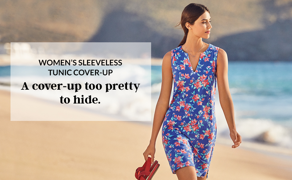 f12d48ab84bd0 Lands' End Women's Cotton Jersey Sleeveless Tunic Dress Swim Cover ...