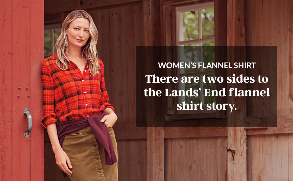 40e1f2f28c01b Lands  End Women s Plus Size Flannel Shirt at Amazon Women s ...