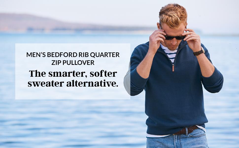 bc395764a6967 Lands  End Men s Bedford Rib Quarter Zip Sweater at Amazon Men s ...