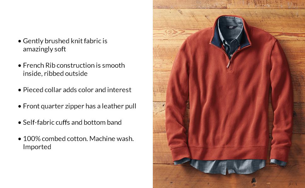 64b3658de1634 Product Description. Lands  End - A more comfortable life starts here. Men s  bedford rib quarter zip pullover